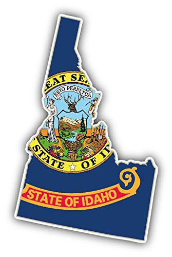 - Idaho USA State Map Flag Vinyl Decal Bumper Sticker 3'' X 5''