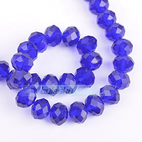 Deep Blue 3X2mm 100pcs Rondelle Faceted Crystal Glass Loose Spacer Beads Wholesale 3mm/4mm/6mm/8mm/10mm