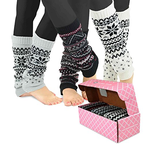 TeeHee Gift Box Women's Fashion Leg Warmers 3-Pack Assorted Colors (Geometric Pattern) -