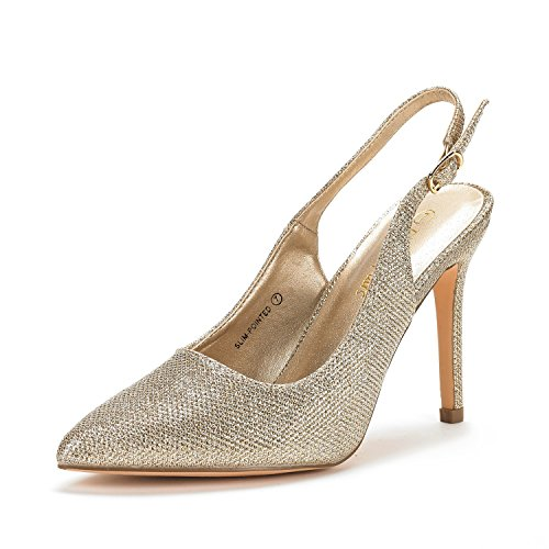 DREAM PAIRS Women's Slim-Pointed Gold Glitter High Heel Pump Shoes - 7 M US
