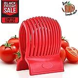 tomato design - Multiuse Tomato Slicer Holder Firm Grip Durable Non BPA ABS Efficient Ergonomic 13 Dividers Design Dishwasher Safe Kitchen Slicing Shredding Lemons Potatoes Round Fruits Vegetables with Bonus eBook