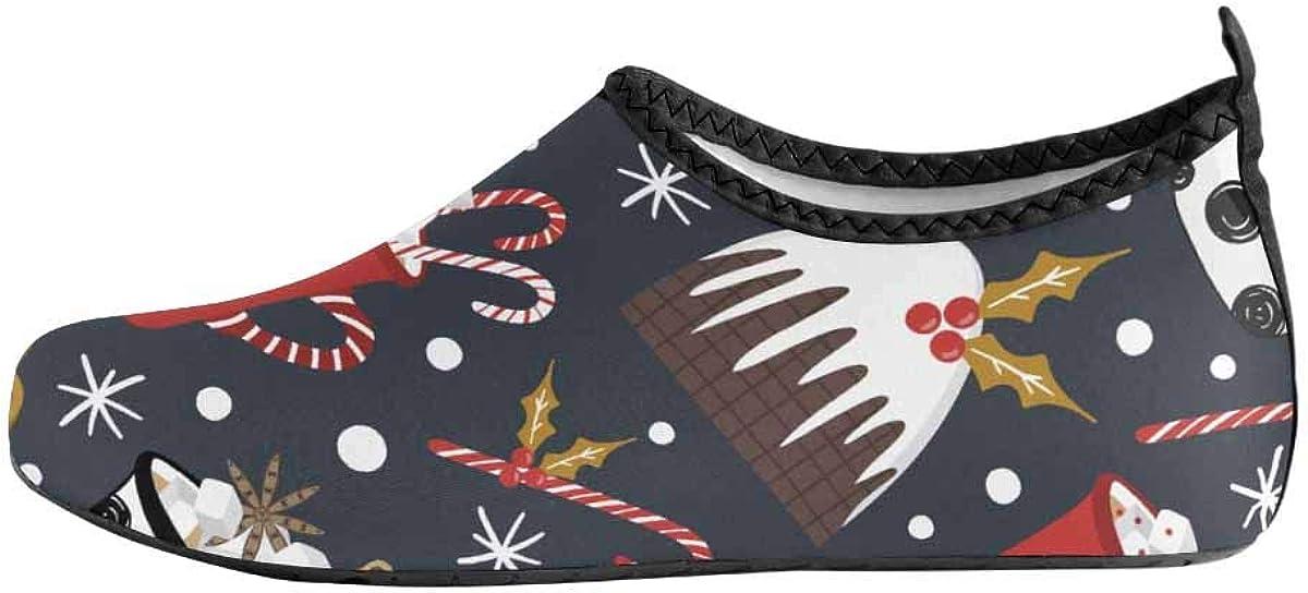 INTERESTPRINT Mens Water Shoes Candy Snow Aqua Shoes Barefoot Socks Swim Beach Shoes