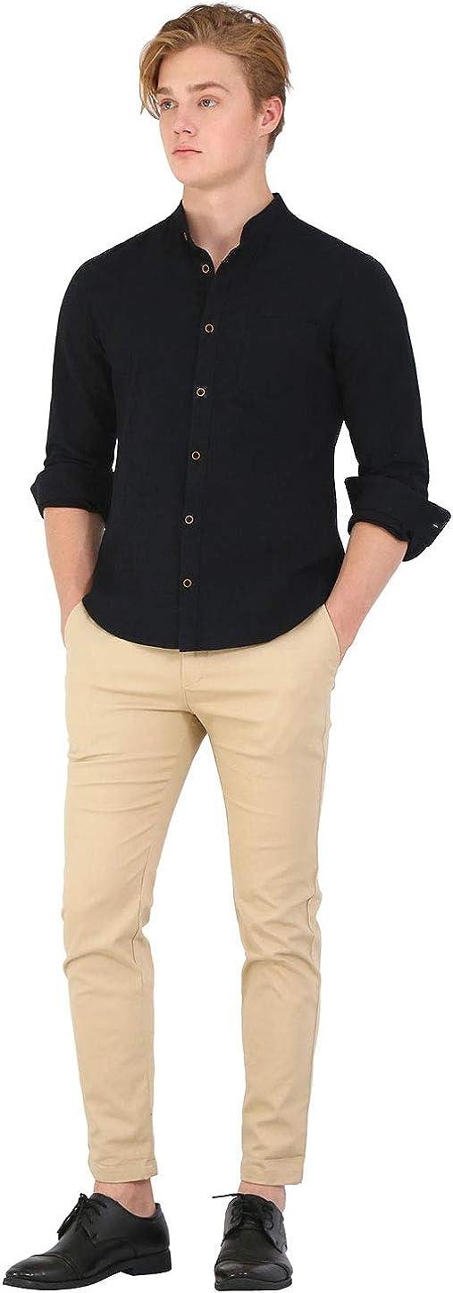 TATT 21 Men Banded Collar Shirt Washed Cotton Long Sleeve Casual Button Down Shirts
