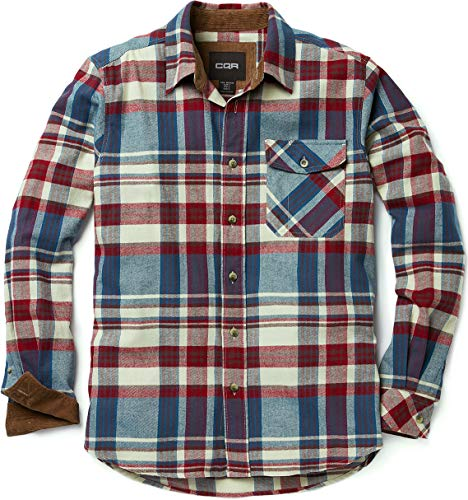 CQR Men's Flannel Long Sleeved Button-Up Plaid All Cotton Brushed Shirt, Plaid(hof110) - Vintage Wine, Small