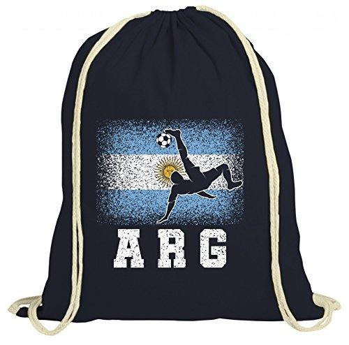 ShirtStreet Argentinien Fußball WM Fanfest Gruppen Fan natur Turnbeutel Rucksack Gymsac Argentina Football Player Dunkelblau Natur