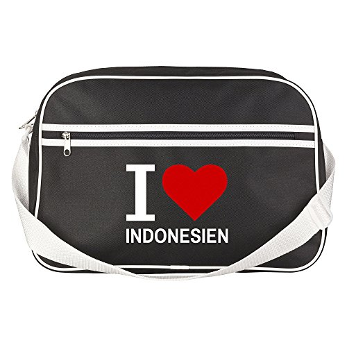 Retrotasche Classic I Love Indonesien schwarz