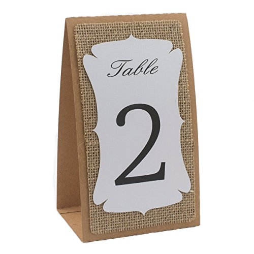 Number Printing (Summer-Ray Handmade Table Number 1 to 10 Kraft-Burlap-White Triple Layer Double Sided Printing Rustic Table Numbers )