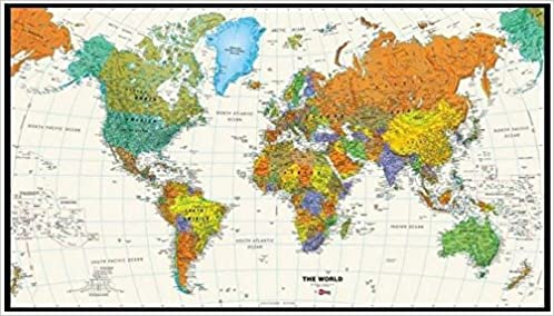 World Map Tyvek Colorful Contemporary Updated X Interarts - Updated world map