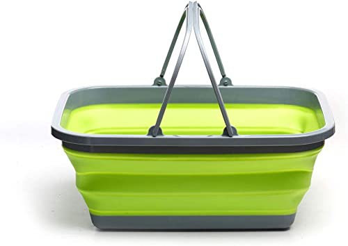 ROADIE Collapsible Tub with Handle 29 L Portable Outdoor Picnic Basket Crate – Foldable Shopping Bag – Space Saving Storage Container