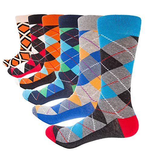 MUMUBREAL Mens Colorful Dress Socks - Cool Painting Fancy Novelty Funny Socks Wholesale Bulk Male Casual Socks (6 Pack A3010-06)