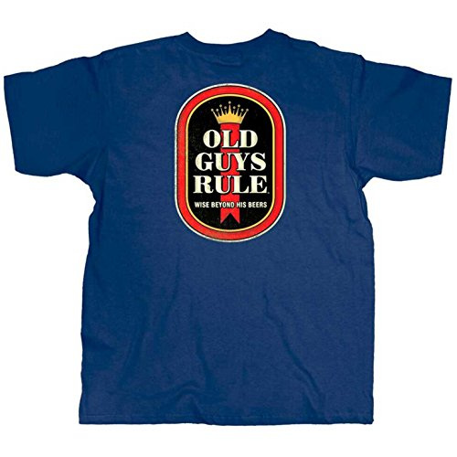 OLD GUYS RULE T Shirt for Men | Wise Man | Cool, Funny Graphic Tee for Dad, Husband, Grandfather Gift | Metro Blue | Medium