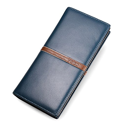 Classic Business Leather Wax Pocket Crystalzhong Brown Oil Capacity Both Wallet Minimalist Men Women Large Mens Blue Purse Leather Color and Durability Wallet awxqzPfw