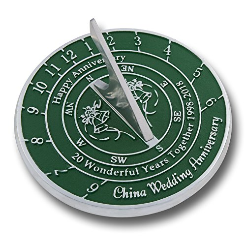 The Metal Foundry 20th China Wedding Anniversary Sundial Gift Idea Is A Great Present For Him, For Her Or For A Couple To Celebrate 20 Years Of - Wedding 20th Gifts Anniversary
