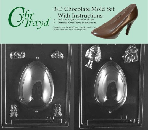 Sugar Egg Molds - Cybrtrayd E226AB Chocolate Candy Mold, Includes 3D Chocolate Molds Instructions and 2-Mold Kit, Panoramic Egg