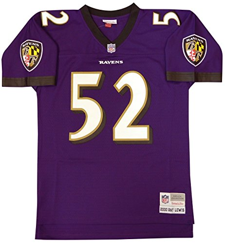 (Ray Lewis Baltimore Ravens Mitchell and Ness Men's Purple Throwback Jersey X-Large)