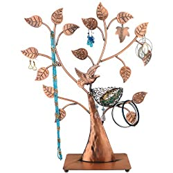 MyGift Jewelry Tree w/ Bird Nest 48 pair Earrings Holder, Bracelets / Necklace Organizer Stand