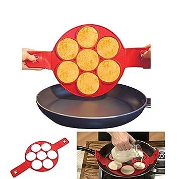 Takestop® Molde de silicona para pancakes Cocina tortitas antiadherente sartén tortilla: Amazon.es: Electrónica