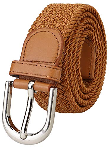 Falari Men Women Canvas Elastic Fabric Woven Stretch Braided Belt - Light Brown-X-Large