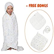 Baby Muslin Hooded Towel with FREE Belt and 2 Washcloths Bath Set Extra Soft & Large Towel 33,5x33,5 inch (85x85 cm) 6 Layer Gauze 100% Organic Antibacterial Cotton