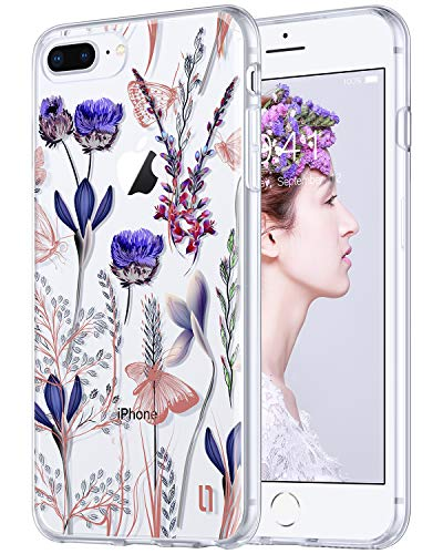 ULAK Floral Case for iPhone 8 Plus, iPhone 7 Plus Case, Clear with Flower Pattern Design Shock Absorbing Flexible Glossy TPU Soft Bumper Case 4H PET Hard Back Cover, Romantic Lavender