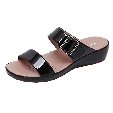 Amazon.com: YANG-YI 2019 New, Women Buckle Flip Flops Summer ...