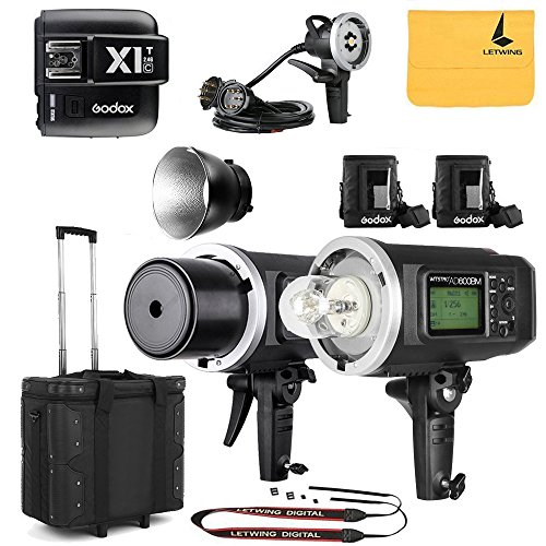 GODOX AD600BM Sync 1 / 8000s 2.4G 2Pcs Wireless Flash Speedlite,GODOX X1T-C Wireless Flash Trigger,GODOX AD-H1200B Hand-Held Extension Extra Head Bowens Mount for Godox AD600B AD600BM Flash Strobe by Godox