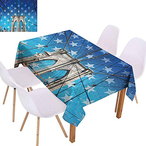 UHOO2018 New York,Microfiber Tablecloth,NYC Bridge with Stars Home to The Empire States Building Times Square Other Sites,for Outdoor and Indoor Use,Blue Grey,60