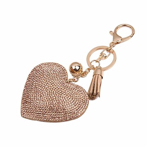 Romantic Love Pendant Charm - Romantic Dazzling Rhinestone Love Heart Charm Pendant Fringe Keychain Keyring - Khaki Ameesi