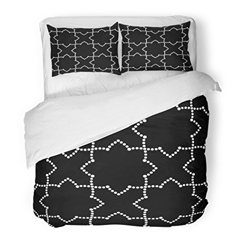 SanChic Duvet Cover Set Tiled Geometric of Dotted Intersected Inspired By Moorish Ornaments in Alhambra Spain Beads Abstract Decorative Bedding Set with Pillow Sham Twin Size by SanChic
