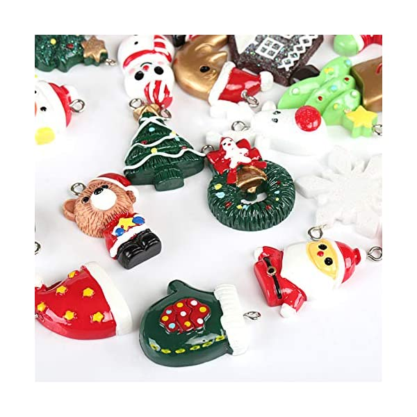Naler 24pcs Christmas Fascino del Pendente, Fascino della Resina del Pupazzo di Neve dell'alce del Babbo Natale per l'ornamento della Decorazione di Natale DIY Craft 3 spesavip