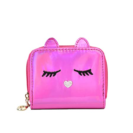 Holographic Animal Cat Wallet Purse for Women Girls Ladies Silver