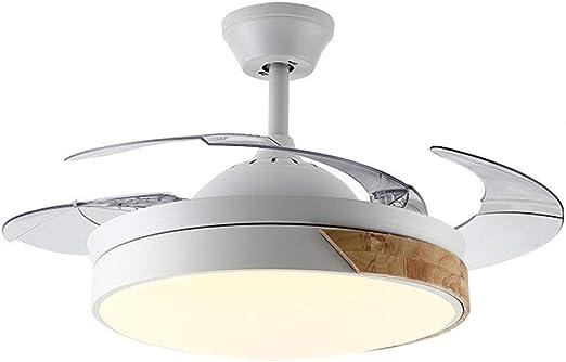 LXMJ Ventilador de Techo Ventilador de luz con luz LED Inteligente Ventilador de Hierro Forjado hogar a Tres velocidades/Ajuste de Dos Colores Auge de Control Remoto ...