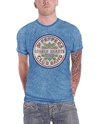 The Beatles T Shirt Sgt Pepper Drum Band Logo Official Mens Blue Burnout - Band Logo Mens T-shirt