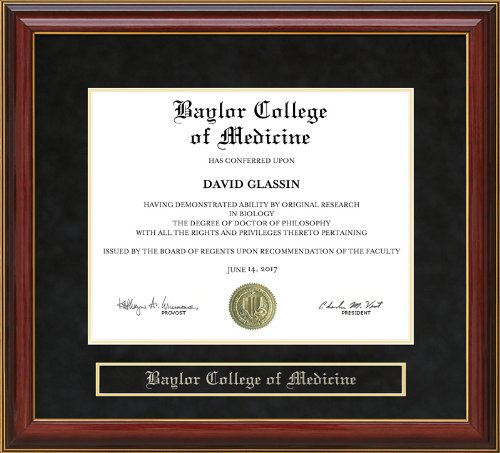 Baylor College of Medicine (BCM) Diploma Frame - Mahogany by Wordyisms