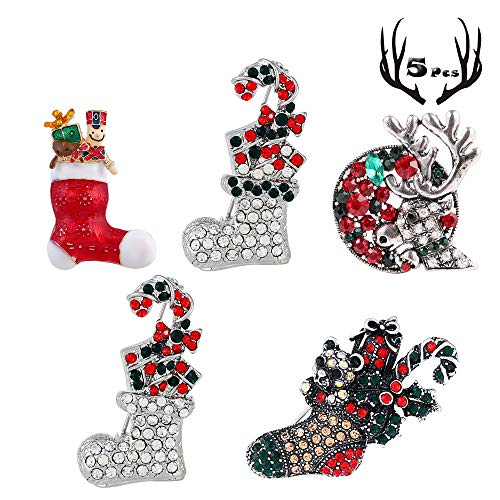 - 5 Pack Vintage Christmas Brooch Pin Set Women Multi-Colored Rhinestone Crystal Christmas Brooch Pin Christmas Decorations Ornaments Gifts Including Christmas Stockings,Deer Head,Silver