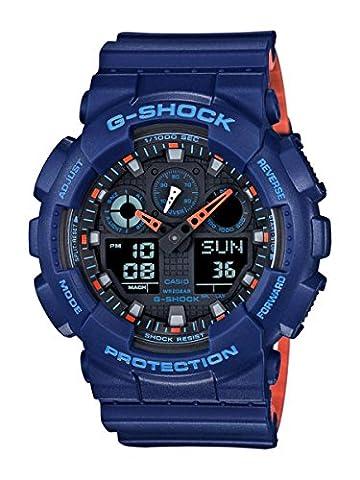 Casio Men's 'G SHOCK' Quartz Resin Casual WatchMulti Color (Model: GA-100L-2ACR) (Blue G Shock Men)