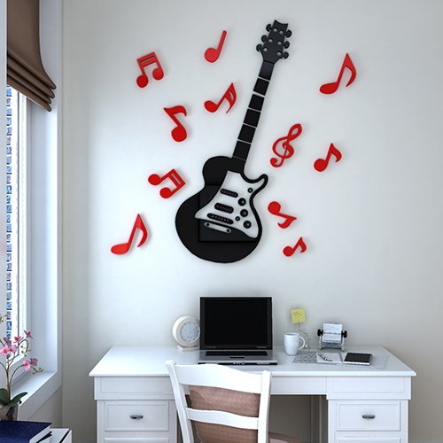 BBH.LEE Notas De Guitarra, Acrílico 3D Pegatinas De Pared Sólida ...