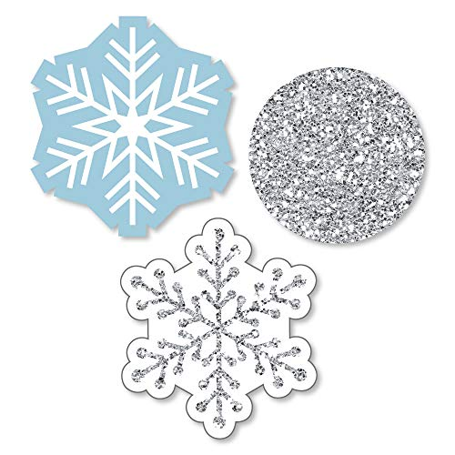 Big Dot of Happiness Winter Wonderland - Shaped Snowflake Holiday Party & Winter Wedding Cut-Outs - 24 Count