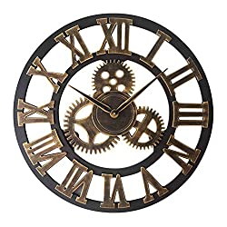 MUZIDP Wooden Wall Clock,Creative Vintage Round Single-Sided Gear Wall Clock,Bar Living Room Decorative Wall Clock-R 80cm(31inch)
