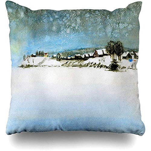 Throw Pillow Cover Cushion Cases Northern Blue Christmas Winter Snow Fence Village Trees Tree Nature Watercolor Country House December Home Decor Design Square Size 18