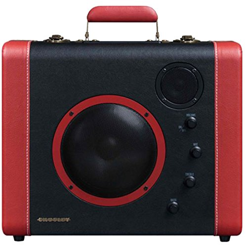 Crosley CR8008A-BK Soundbomb Portable Bluetooth Speaker with Aux-In and Microphone Jack, Black & Red