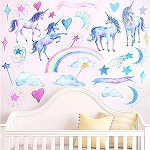 HAOLEJIA Beautiful Kids' Bedroom Unicorn Wall Sticker Decal,3D Art Decal Sticker for Child Room Wall Decoration
