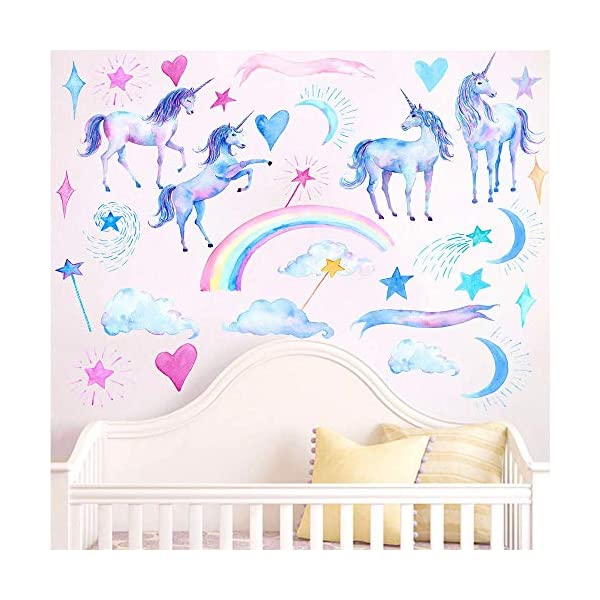 HAOLEJIA Beautiful Kids' Bedroom Unicorn Wall Sticker Decal,3D Art Decal Sticker for Child Room Wall Decoration 3