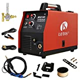 MIG Welder - Lotos MIG140 140 Amp MIG Wire Welder Flux Core Welder and Aluminum Gas Shielded Welding with 2T/4T Switch, 110V, Red