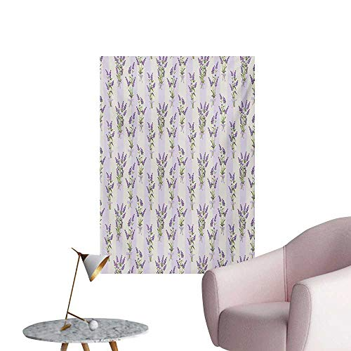 Anzhutwelve Lavender Photo Wall Paper Stripes and Flowers with Ribbons Romantic Country Spring Season Inspired Design ArtPurple W24 xL32 Poster Print (Ribbon Stripe Wallpaper)