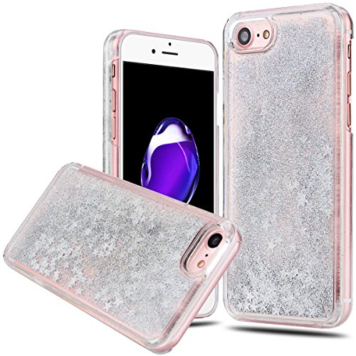 iPhone 7 Funda Líquido Arena Movediza , We Love Case Bling Estrella Lentejuelas Funda para Apple iPhone 7 Carcasa PC Hard Case Plástico Duro Cascara Sparkle Brillar Glitter Claro Cristal Caso Bumper C Stars Plata