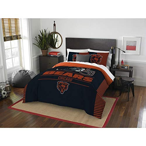 - 3 Piece NFL Chicago Bears Comforter Full Queen Set, Sports Patterned Bedding, Featuring Team Logo, Fan Merchandise, Team Spirit, Football Themed, National Football League, Blue, Orange, Unisex