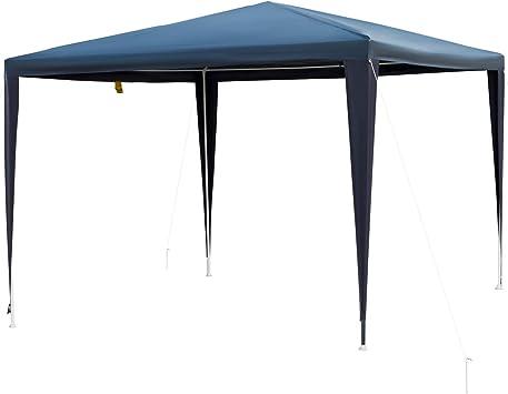Outsunny Carpa Desmontable Impermeable 3x3x2,45m Pabellón de Jardín de Tubo de Acero Pérgola de Color Azul Oscuro
