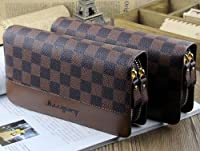 Big Mango Multi-purpose Fashion Beautiful Long Business Gentleman Style Mens Chessboard Print Cellphone PU Leather Purse Bag and Clutch Two Zipper Wallet with Inner Multiple Card Holders and Telescopic Handle for Apple Iphone 4 4s Iphone 5 Iphone 5s 5c Sa
