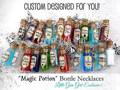 One Custom Designed Bottle Necklace with Real Moving Liquid or Glitter Inside - Magic Potion Charm - Mini Cork Vial - Fairy Tale Fantasy Halloween -